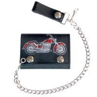 Motorcycle Hogg Bike Trifold Biker Wallet W Chain Mens Leather #564