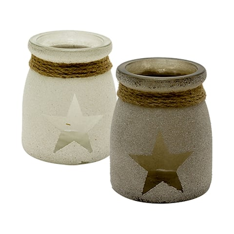 """3.3"""" White and Gray 2 Assorted Star Glass Jar"""