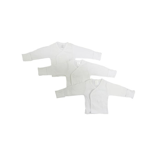 Bambini Baby White Rib Knit White Long Sleeve Side-Snap Shirt 3-Pack
