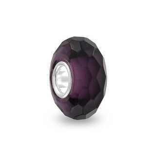 Bling Jewelry Purple Faceted Crystal glass Imitation Amethyst Charm Bead .925 Sterling silver
