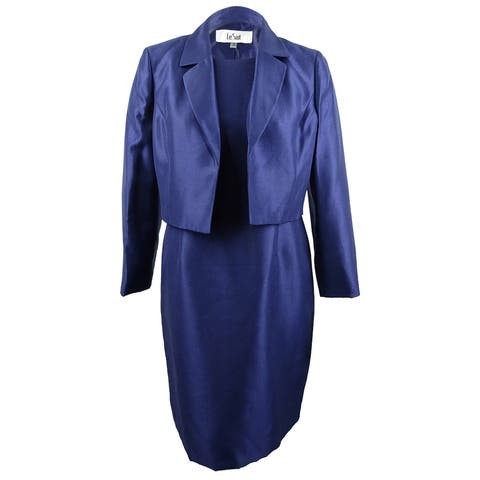 Le Suit Women's Shiny Kiss-Front Jacket & Dress (18, Navy) - Navy - 18