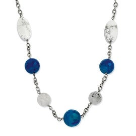Chisel Stainless Steel Blue Jade, Green Agate & Howlite 26 with 2 Inch Extension Necklace (22 mm) - 26 in