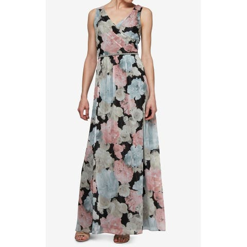 SL Fashions Blue Floral Print Women 4 Embellished Gown Maxi Dress