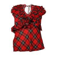 Denim & Supply Women's Sleeveless Plaid Ruffle Top - Red - xs