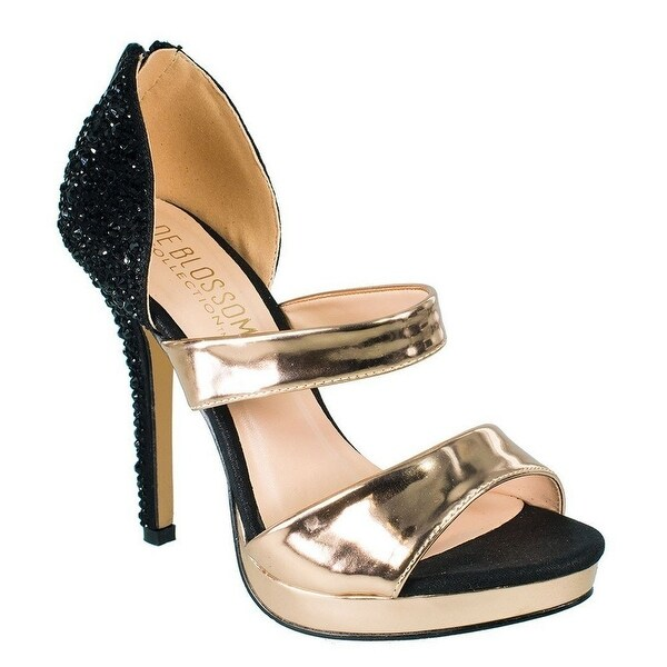 De Blossom Collection Adult Black Metallic Straps Crystal Pumps