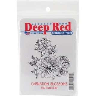 """Deep Red Cling Stamp 2""""X2""""-Carnation Blooms"""