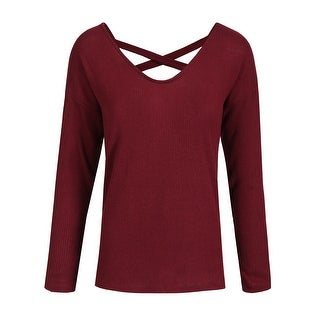NE PEOPLE Womens Loose Fit Criss Cross Soft Knit Sweater Top [NEWT351]