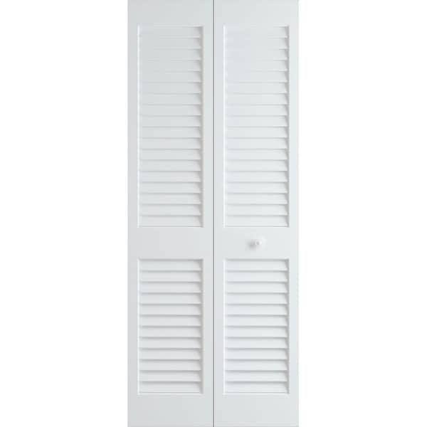 "Frameport PLA-BI-L-6-2/3X2-H Plantation 24"" by 80"" Louver/Louver Interior Bifold Door with Installation Hardware - Primed"