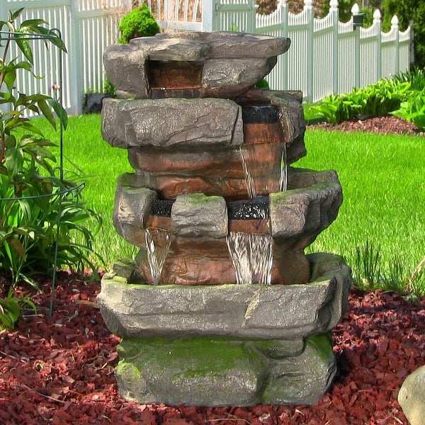 Sunnydaze Outdoor Large Rock Quarry Waterfall Fountain with LED - 31 Inch Tall