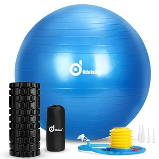 3-In-1 Exercise Ball Foam Roller Kit with Portable Bag, Yoga Ball for Fitness Workout, High Density Foam Roller