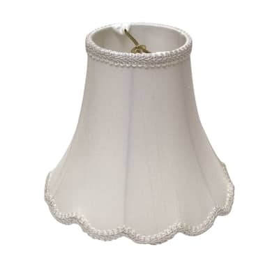 Cloth & Wire Slant Scallop Bell Softback Lampshade with Washer Fitter, White