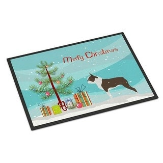 Carolines Treasures BB2962MAT Boston Terrier Merry Christmas Tree Indoor or Outdoor Mat 18x27