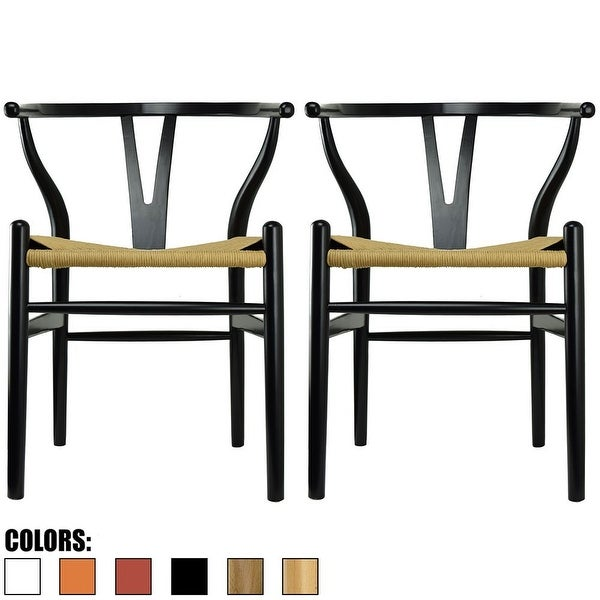 2xhome Set of 2 Modern Wood Elbow Chair Y Back For Kitchen Dining Room With Woven Wish Bone Seat Bedroom Restaurant Kitchen. Opens flyout.