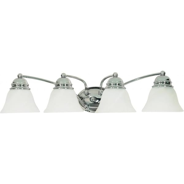 """Nuvo Lighting 60/339 Empire 4-Light 28-3/4"""" Wide Bathroom Vanity Light with Frosted Glass Shades - Polished chrome"""