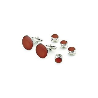 Claret Red Cufflink and Stud Set in Silver