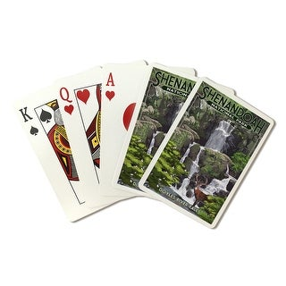 Shenandoah National Park, Virginia - Doyles River Falls - Lantern Press Artwork (Poker Playing Cards Deck)