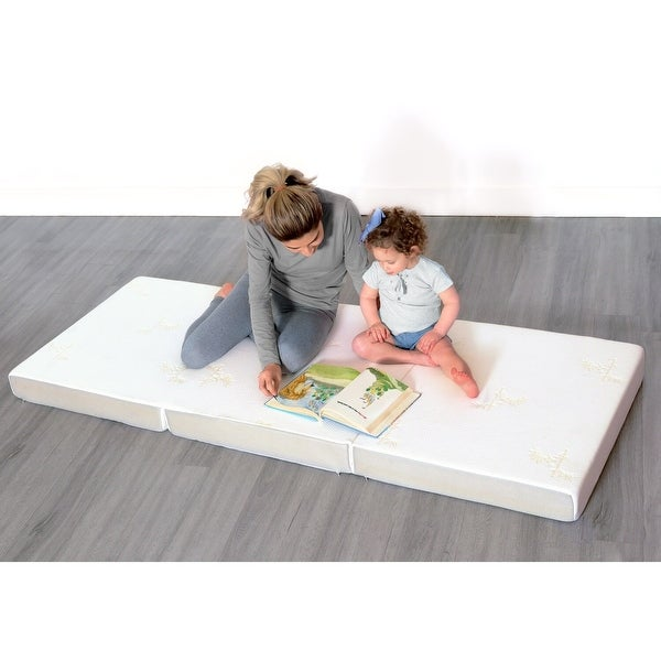 """Milliard 4-inch Tri Folding Mattress (25""""x 75"""") w/ removable cover. Opens flyout."""