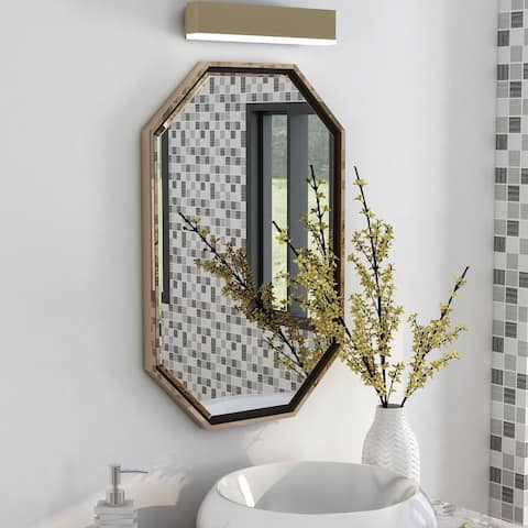 Furniture of America Jave Modern 36-inch Octagon Beveled Wall Mirror