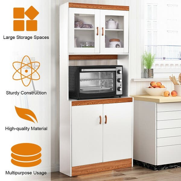 Shop Gymax Tall Microwave Cart Stand Kitchen Storage Cabinet ...