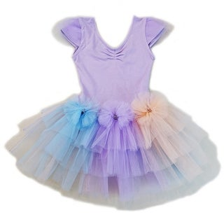Wenchoice Girls Purple 3 Color Bows Fluffy Tutu Ballet Dress