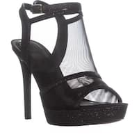 Guess Afra Peep-Toe Ankle Strap Heeled Sandals, Black Multi - 9 us