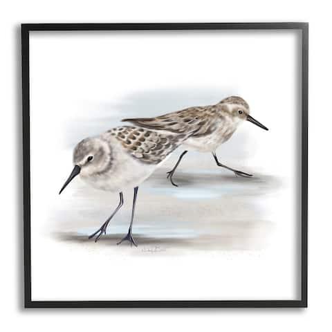 Stupell Industries Sandpiper Pair on Sandy Beach Small Nautical Birds Framed Wall Art