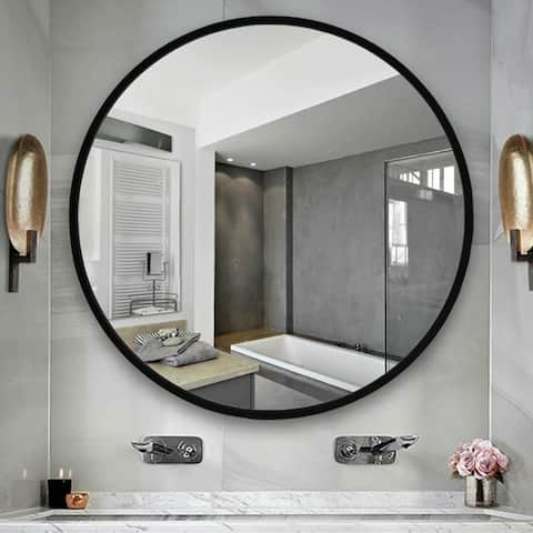 Carson Carrington Salmi Aluminum Alloy Framed Round Mirror