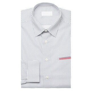 Prada Men's Gingham Pointed Collar Cotton Dress Shirt White Navy