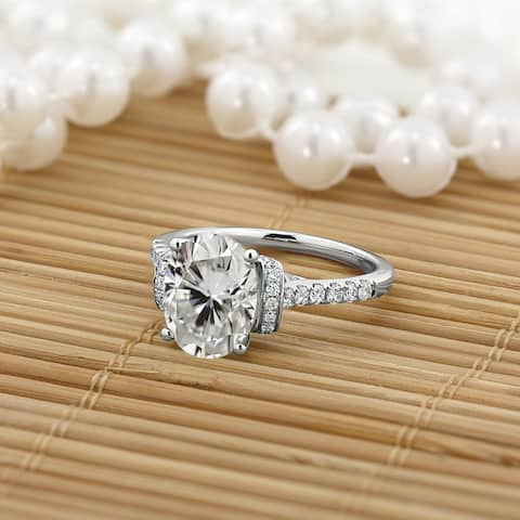 2 1/4ct Oval Moissanite and Diamond Engagement Ring 3/8ctw by Auriya 14k Gold