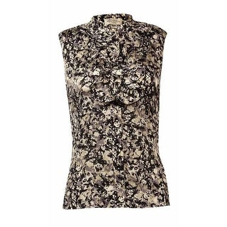 Tahari Women's Sleeveless Ruffle Floral Print Blouse