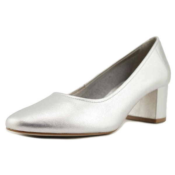 Steven Steve Madden Tour Women Round Toe Leather Silver Heels