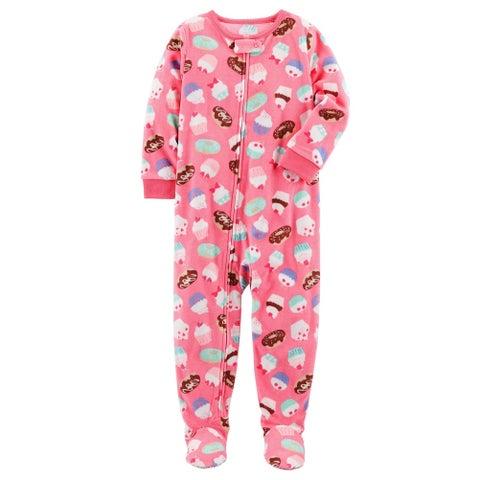 Carter's Baby Girls' 1 Piece Cupcake Fleece Pajamas, 18 Months