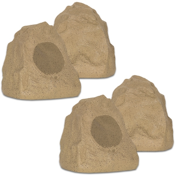 Theater Solutions 4R4S Outdoor Sandstone Rock 4 Speaker Set for Yard Patio Pool