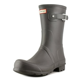 Hunter Original Short Tartan Men Round Toe Synthetic Gray Rain Boot