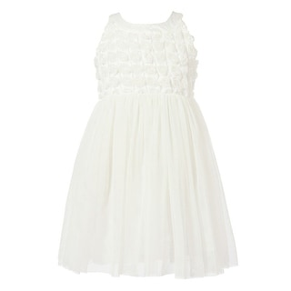 Richie House Little Girls White Rosette Layered Mesh Bottoms Princess Dress 2-6