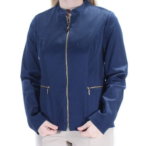CHARTER CLUB Womens Navy Pocketed Zip Neck Zip Up Jacket Size 4