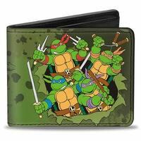 Classic Tmnt Turtles Battle Pose9 + Teenage Mutant Ninja Turtles Logo Bi-Fold Wallet - One Size Fits most