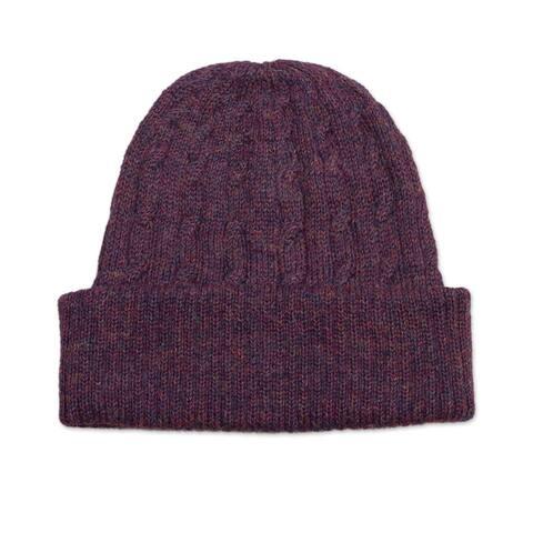 NOVICA Comfy in Purple Wool knit hat