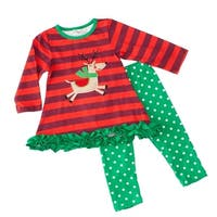 Baby Girls Red Green Stripe Reindeer Ruffle Christmas 2 Pc Pant Outfit