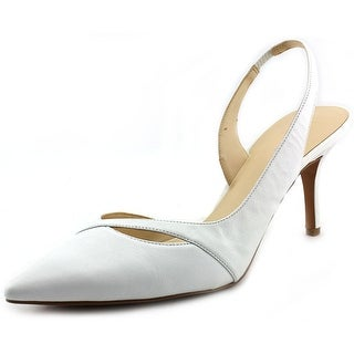 Nine West Korkskrew Women Pointed Toe Leather White Slingback Heel