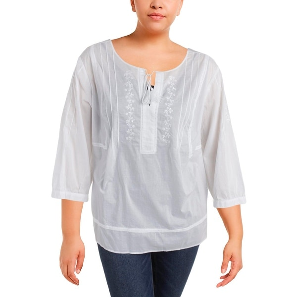 5c78fcffa27 Shop NYDJ Womens Plus Peasant Top Embroidered Long Sleeves - Free Shipping  On Orders Over  45 - - 22679053