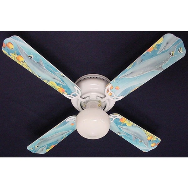 Children's Dolphins Print Blades 42in Ceiling Fan Light Kit - Multi