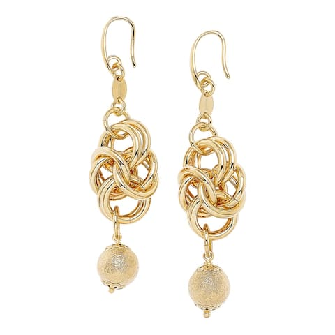 Bronzoro 18 k Gold Overlay Knotted Drop Bead Earrings