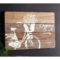 Pack of 4 Decorative Wooden Happiness Bicycle Plaque - Brown