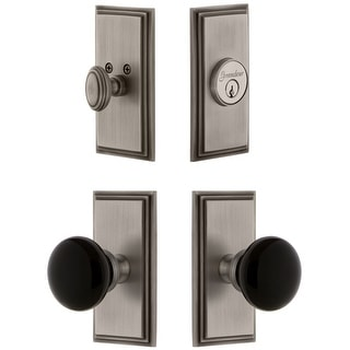 Grandeur CARCOV_SP_ESET_234  Carre Solid Brass Rose Single Cylinder Keyed Entry Deadbolt and Knobset Combo Pack with Coventry