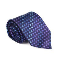 Etro Mens Blue Purple 100% Silk Geometric Print 3.25 In Standard Tie - One Size