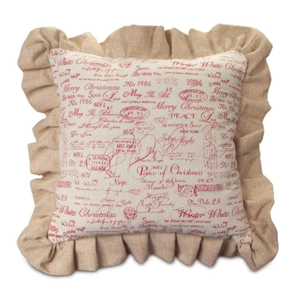 """Set of 2 Christmas Tan and Red Throw Pillow with Ruffles 18""""SQ"""