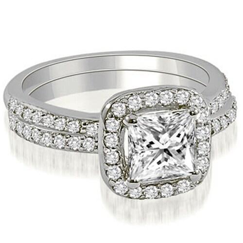 1.35 cttw. 14K White Gold Princess Cut Halo Diamond Bridal Set