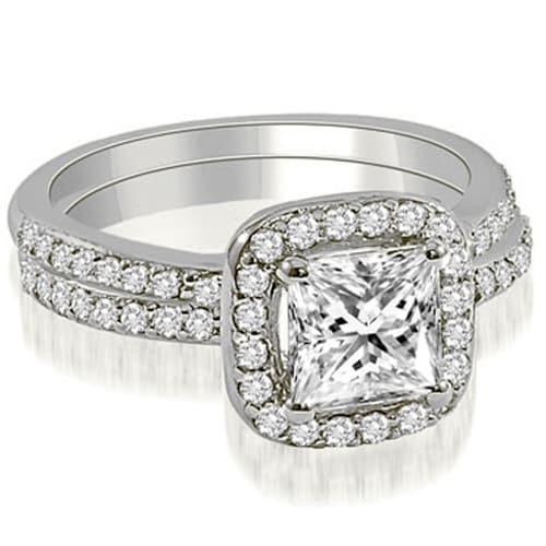 1.60 cttw. 14K White Gold Princess Cut Halo Diamond Bridal Set