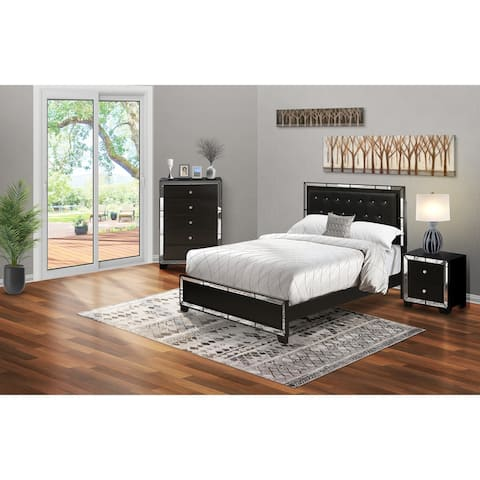 3-Pieces Queen Bedroom Set with Light Up headboard-Bed ,Chester and Night stand - Black Faux Leather Headboard